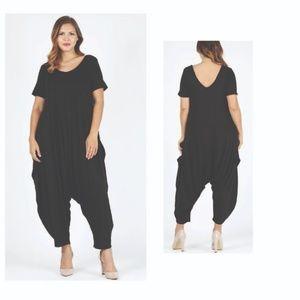 Black Plus Size Solid Hue Harem Jumpsuit